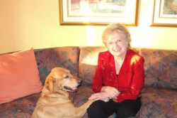 State Regent Barbara Makant with Guide Dog - Angel 2011